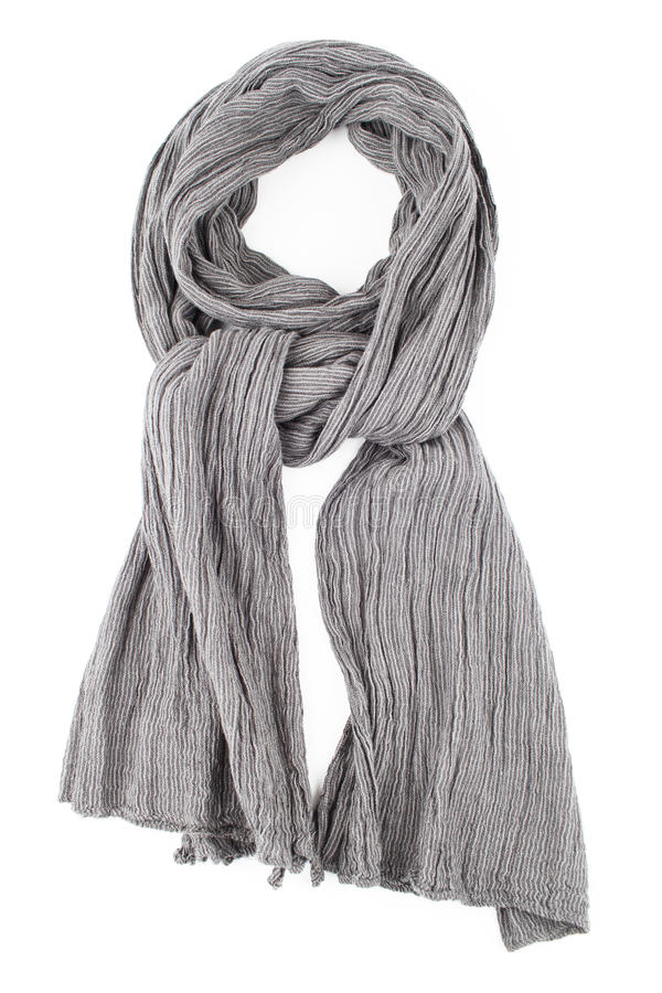 A scarf is grey strung on a knot on a white background. A scarf is grey strung on a knot isolated on white background stock photos