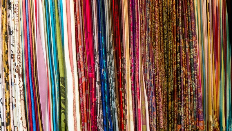 Download Scarf On Hangers At Street Market. Stock Photos - Image: 26338613