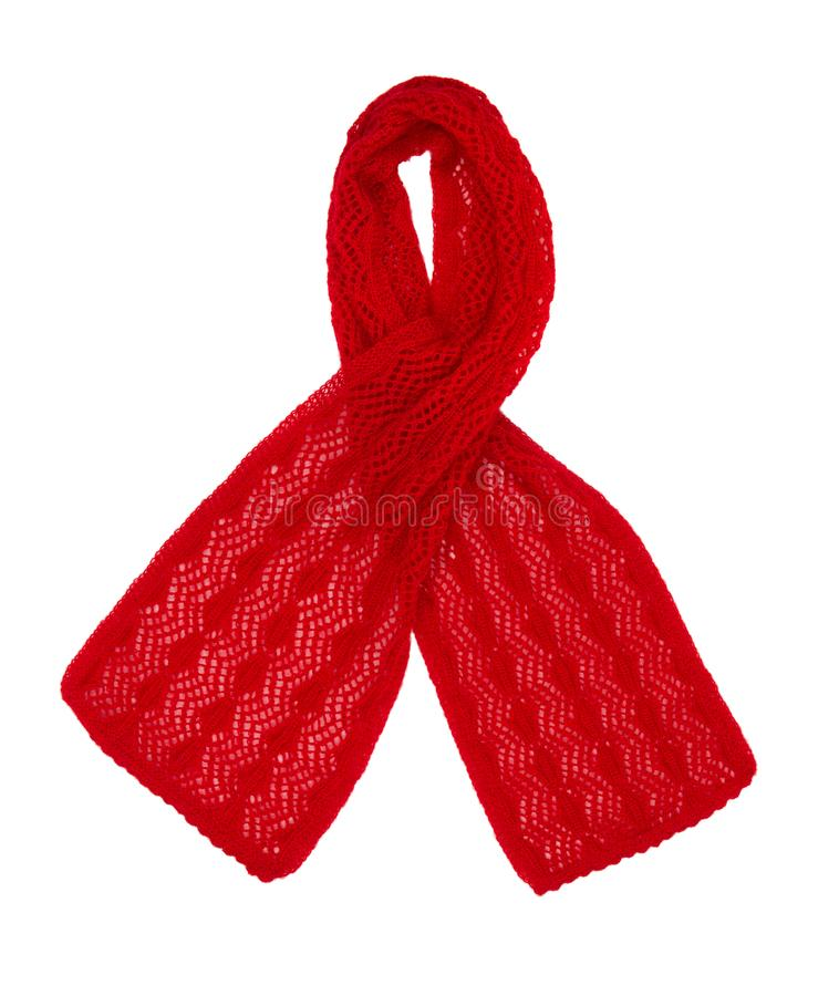 Scarf knitted handwork. Red woolen scarf stock photography
