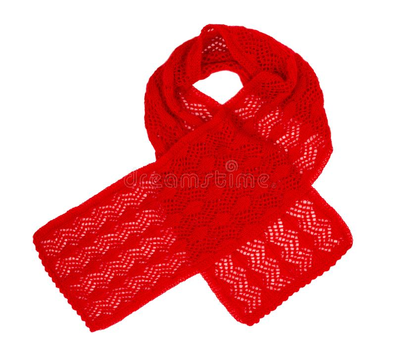Scarf knitted handwork. Red woolen scarf royalty free stock photography