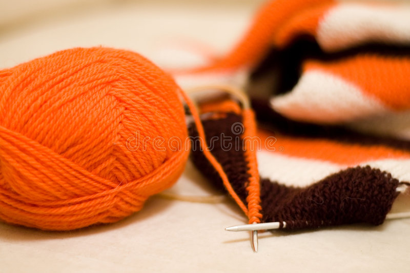 Scarf knitting stock photography