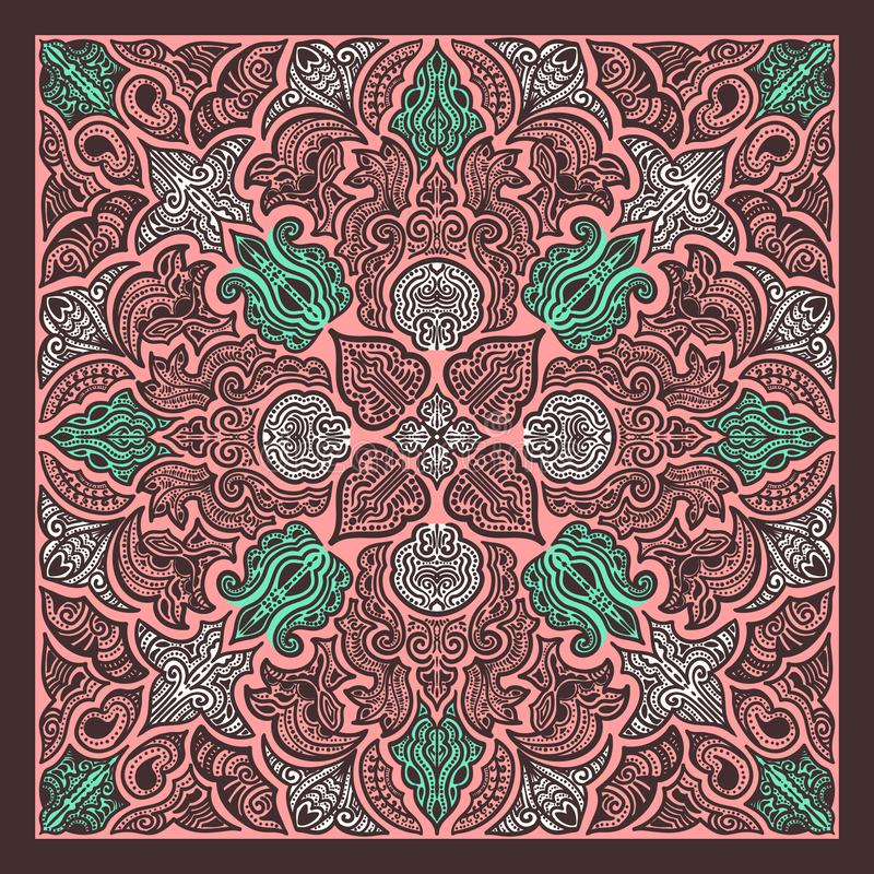 Scarf pattern. Contemporary brown floral native lines pattern on pink stock illustration