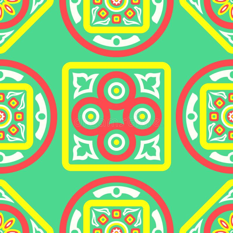 Scarf pattern. Contemporary four colors asian floral pattern on green stock illustration