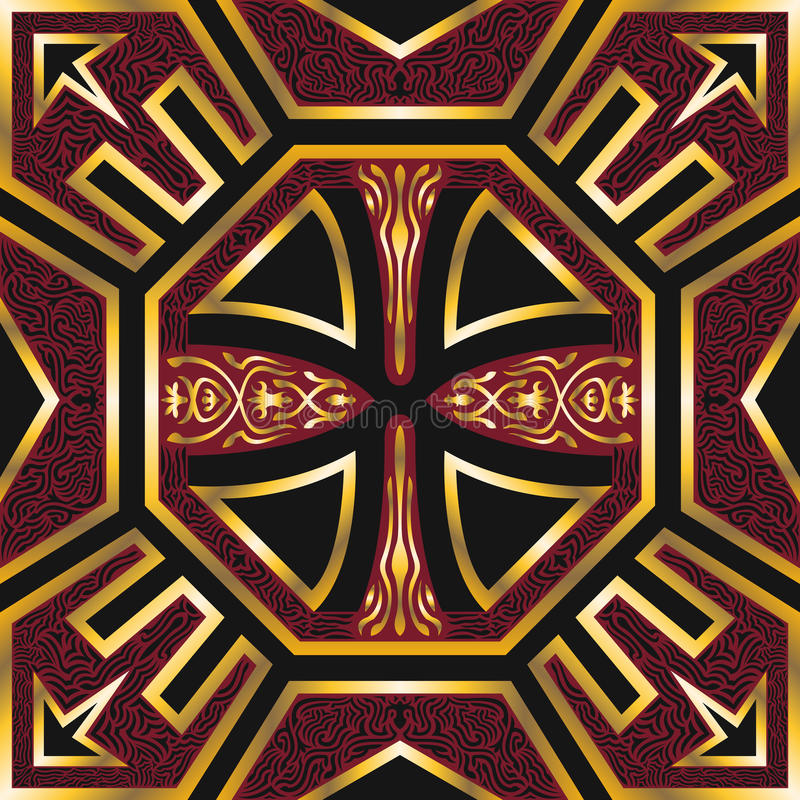 Scarf pattern. Golden red ancient style pattern on black vector illustration