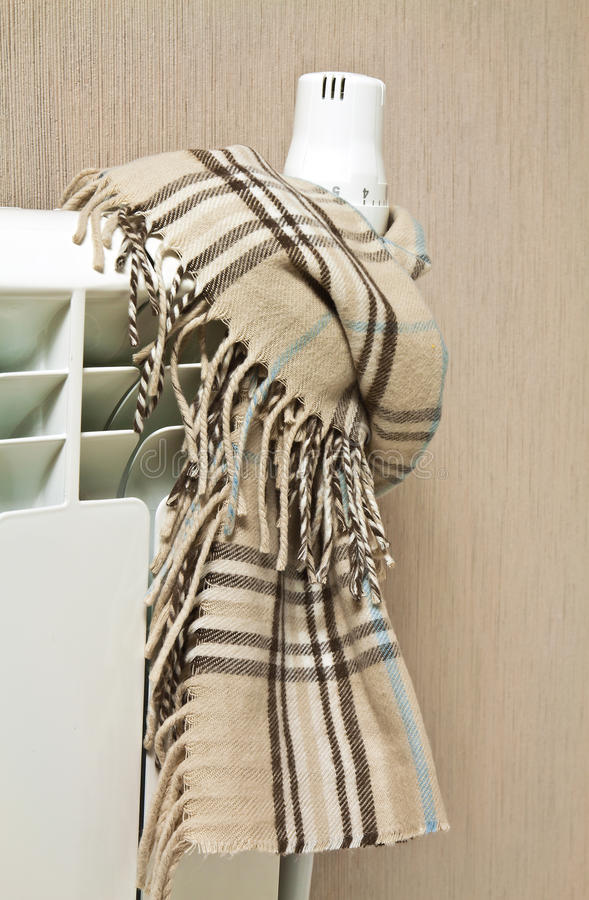 Scarf on a radiator royalty free stock images