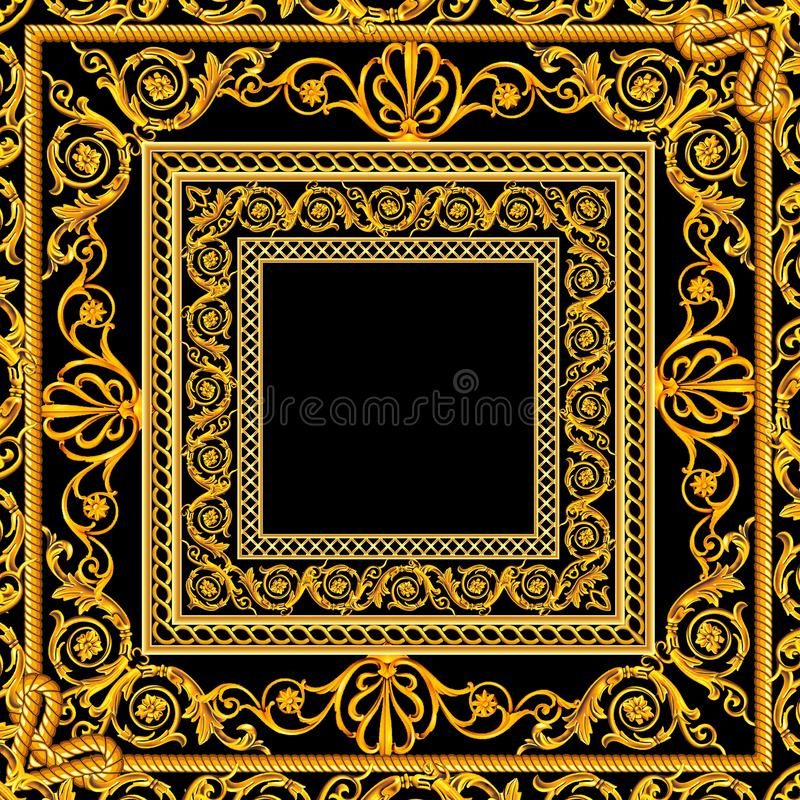 Free Scarf With A Pattern Of Gold Elements Golden Baroque On A Black And Burgundy Background Stock Images - 150301944