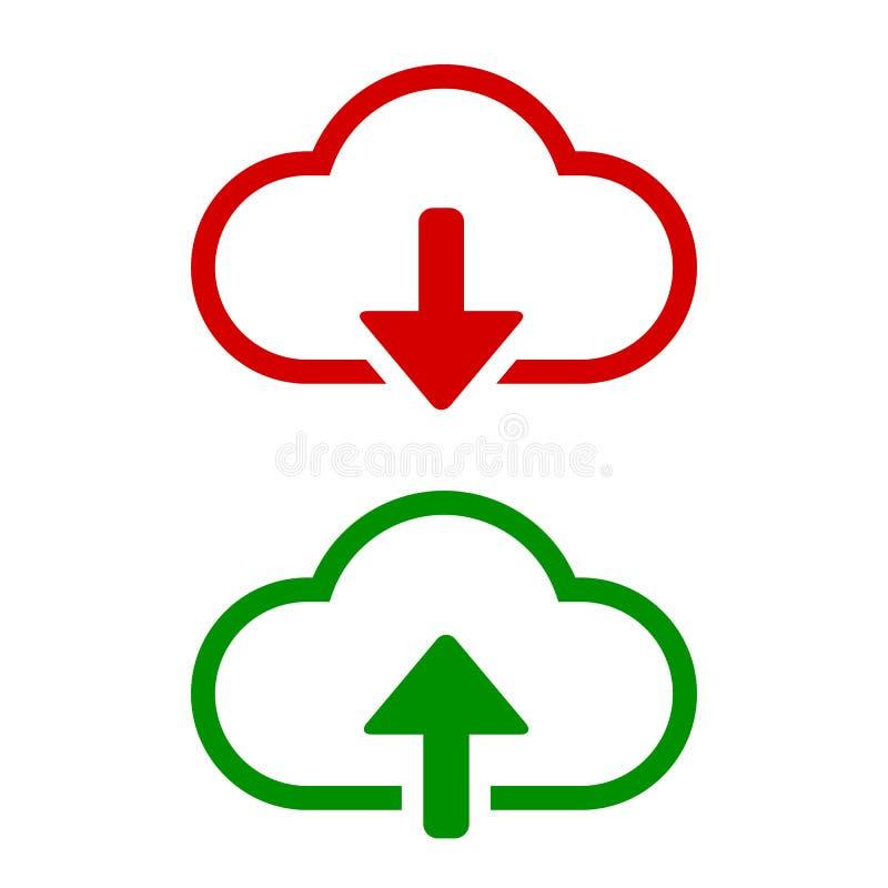 Scarichi e carichi l'icona di vettore Segno piano per il concetto ed il web design mobili Nuvola con la freccia su e giù l'icona  illustrazione di stock