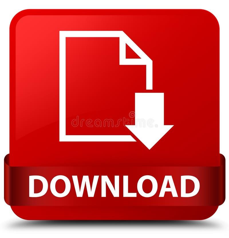 Scarichi il nastro rosso del bottone del quadrato rosso (dell'icona del documento) nel mezzo royalty illustrazione gratis