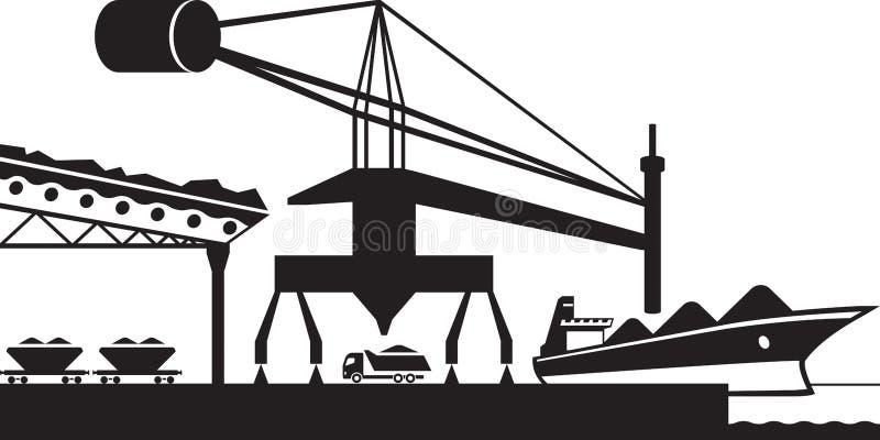 Scarichi le materie prime dalla nave da carico illustrazione vettoriale