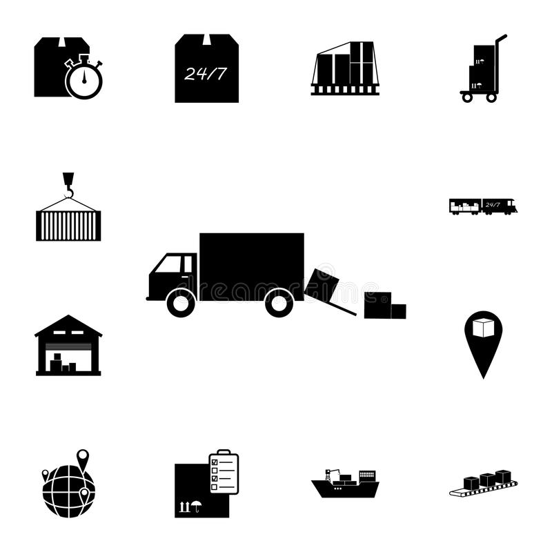 scarico dei contenitori di carico dall'icona dell'automobile Insieme dettagliato delle icone logistiche Icona premio di progettaz illustrazione di stock