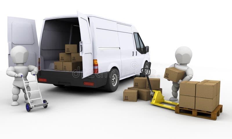 Scarico del furgone illustrazione di stock