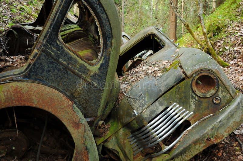 Scarico dell'automobile in burrone immagine stock