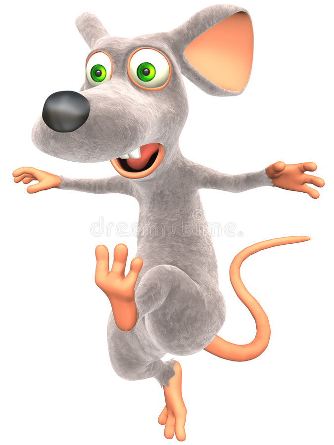 Scaring Mouse. Scaring Toon Mouse with isolation on a white background