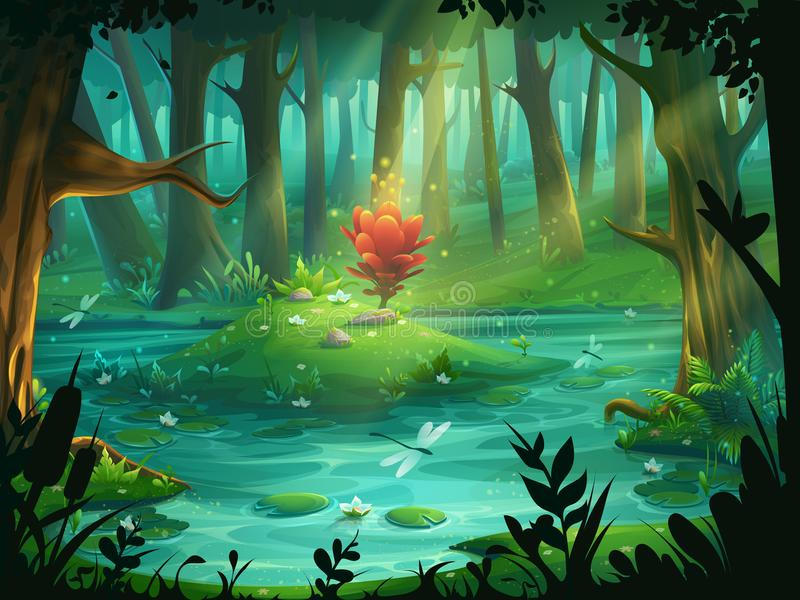 The Scarlet Flower on an island in a swamp in the forest royalty free illustration