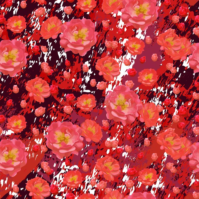 Scarlet roses flowers on textured burgundy marble background. royalty free illustration