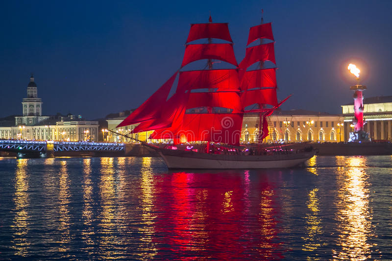 Scarlet Sails ship during the festival in St. Petersburg stock photo