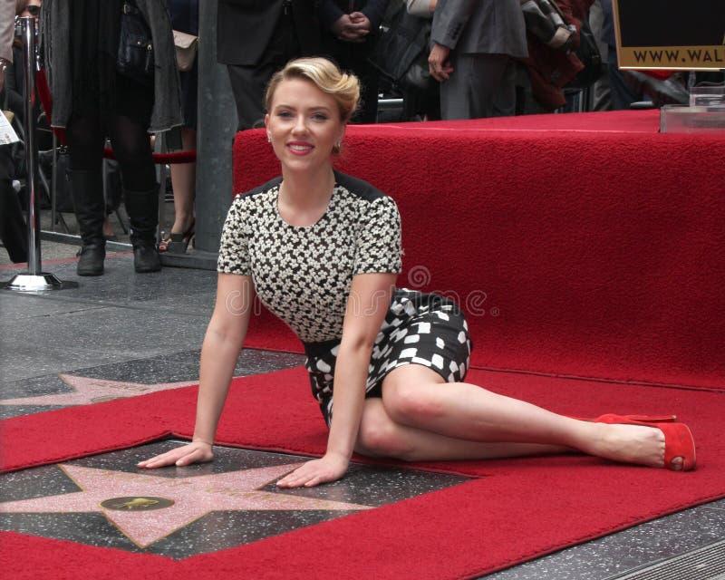 Scarlett Johansson à la promenade d'étoile de Scarlett Johansson de la cérémonie de renommée photographie stock libre de droits