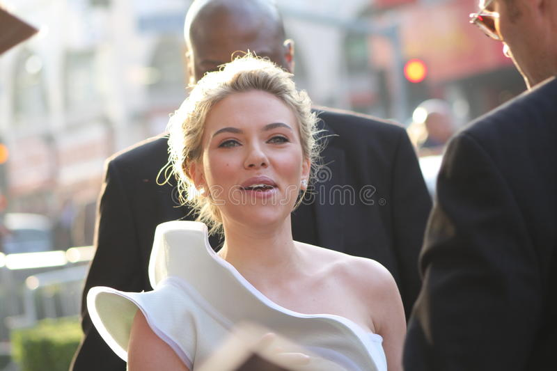 Scarlett Johansson. At the premiere of her latest movie Ironman 2 royalty free stock photography