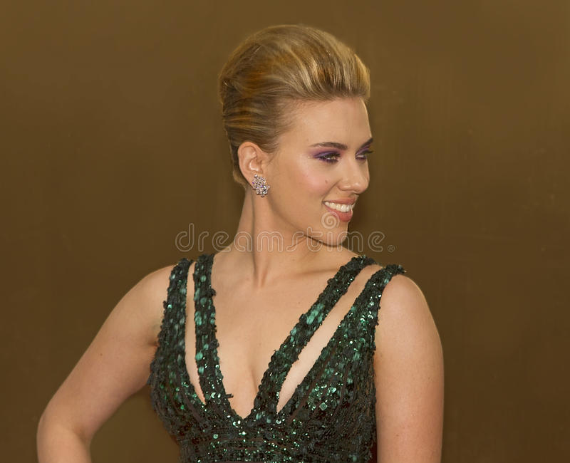 Scarlett Johansson at 64 Annual Tony Awards in 2010. Scarlett Johansson makes a fashionable entrance on the red carpet in a stunning green gown, for the royalty free stock photography