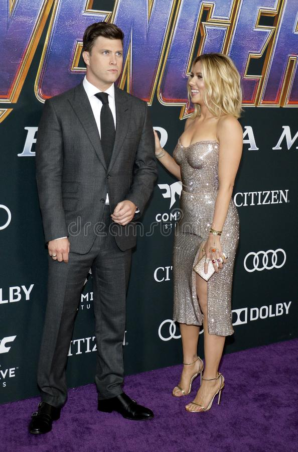 Scarlett Johansson and Colin Jost. At the World premiere of `Avengers: Endgame` held at the LA Convention Center in Los Angeles, USA on April 22, 2019 royalty free stock image