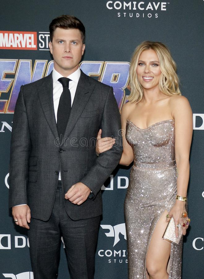 Scarlett Johansson and Colin Jost. At the World premiere of `Avengers: Endgame` held at the LA Convention Center in Los Angeles, USA on April 22, 2019 stock photos