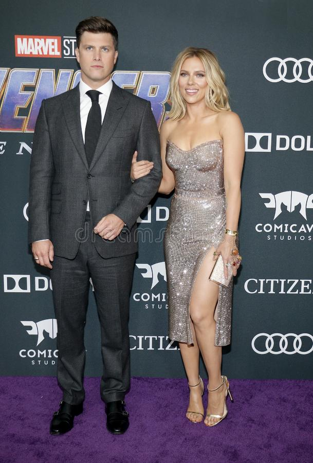 Scarlett Johansson and Colin Jost. At the World premiere of `Avengers: Endgame` held at the LA Convention Center in Los Angeles, USA on April 22, 2019 stock photography