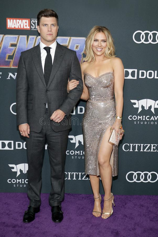 Scarlett Johansson and Colin Jost. At the World premiere of `Avengers: Endgame` held at the LA Convention Center in Los Angeles, USA on April 22, 2019 stock image