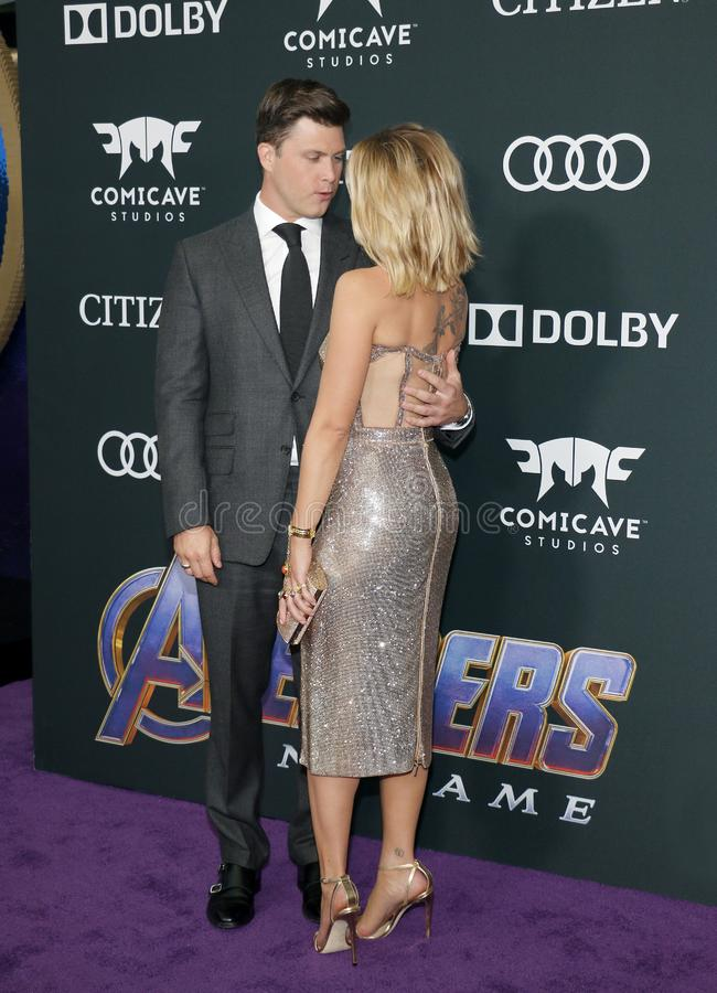Scarlett Johansson and Colin Jost. At the World premiere of `Avengers: Endgame` held at the LA Convention Center in Los Angeles, USA on April 22, 2019 stock photo