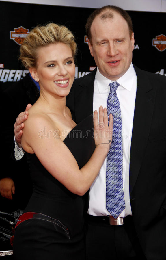 Scarlett Johansson and Kevin Feige. At the Los Angeles premiere of 'Marvel's The Avengers' held at the El Capitan Theatre in Los Angeles on April 11, 2012 stock images