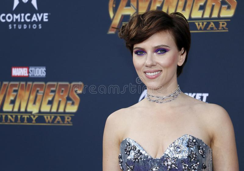Scarlett Johansson. At the premiere of Disney and Marvel`s `Avengers: Infinity War` held at the El Capitan Theatre in Hollywood, USA on April 23, 2018 stock image