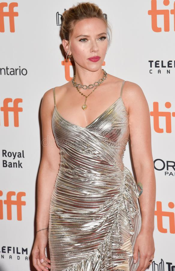 Scarlett Johansson on red carpet for Jojo Rabbit movie premiere at TIFF. Beautiful actress blond celebrity star with natural beauty. Rodarte Fall 2019 dress stock image