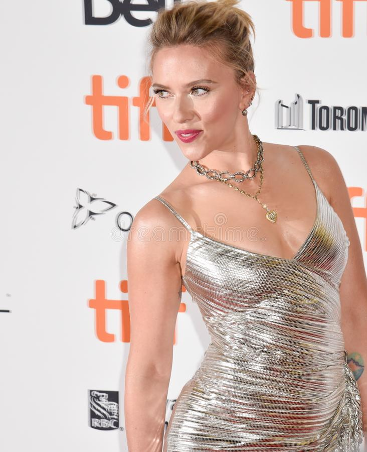 Scarlett Johansson on red carpet for Jojo Rabbit movie premiere at TIFF. Beautiful actress blond celebrity star with natural beauty. Rodarte Fall 2019 dress stock photos
