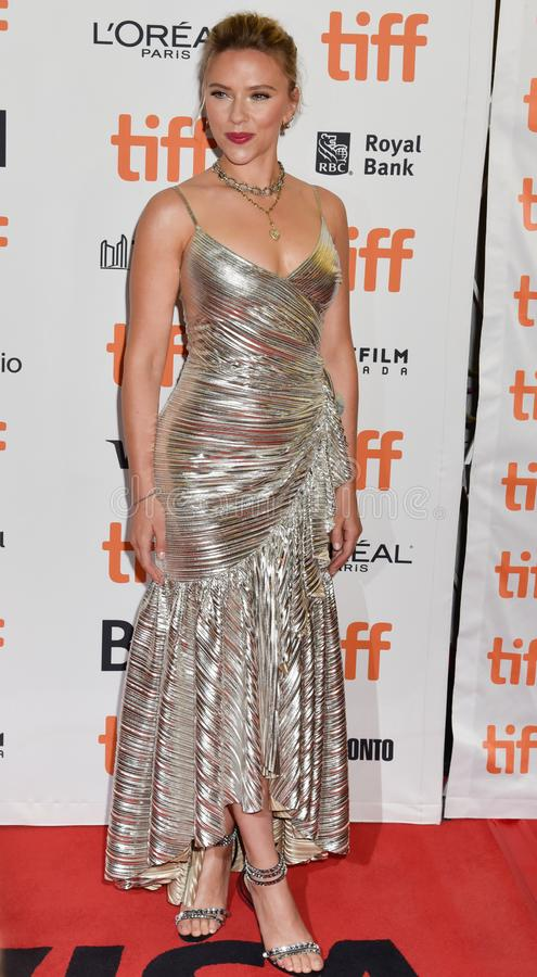 Scarlett Johansson on red carpet for Jojo Rabbit movie premiere at TIFF. Beautiful actress blond celebrity star with natural beauty. Rodarte Fall 2019 dress royalty free stock photos