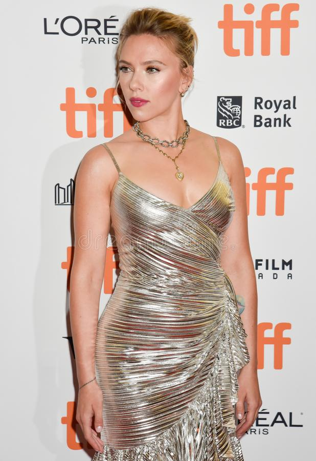Scarlett Johansson on red carpet for Jojo Rabbit movie premiere at TIFF. Beautiful actress blond celebrity star with natural beauty. Rodarte Fall 2019 dress stock photography