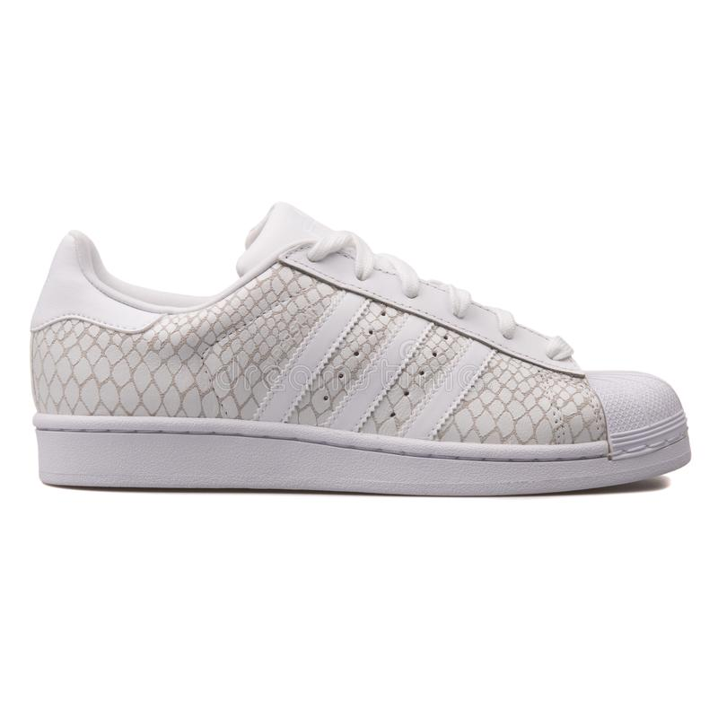 Scarpa da tennis bianca del superstar di Adidas fotografie stock