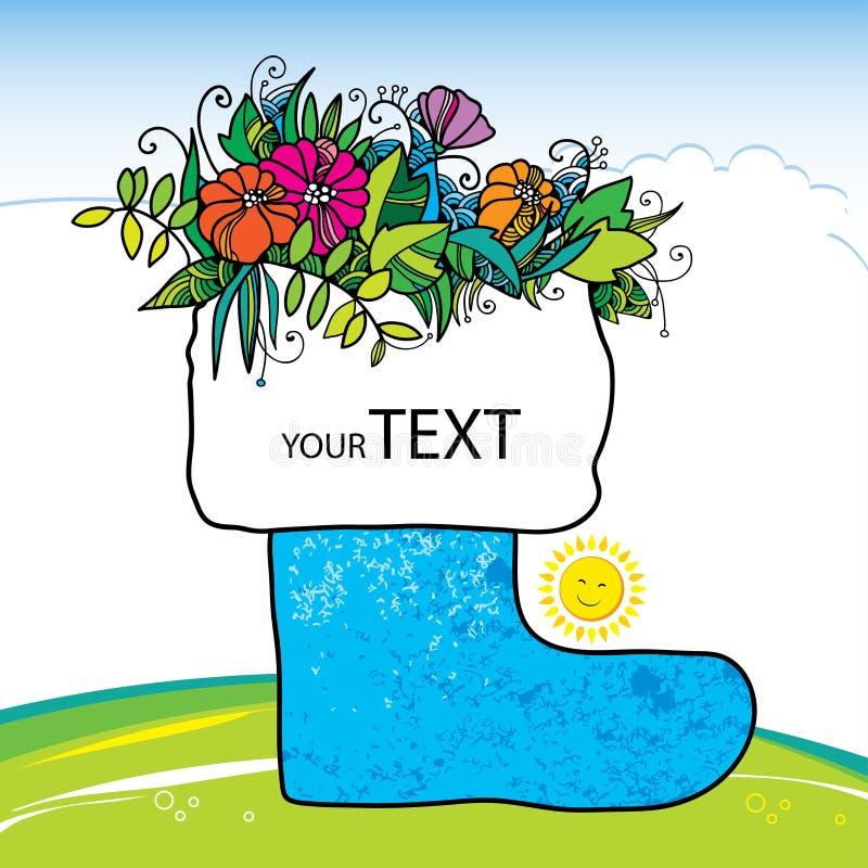 Scarpa decorativa con i fiori Estate felice illustrazione di stock