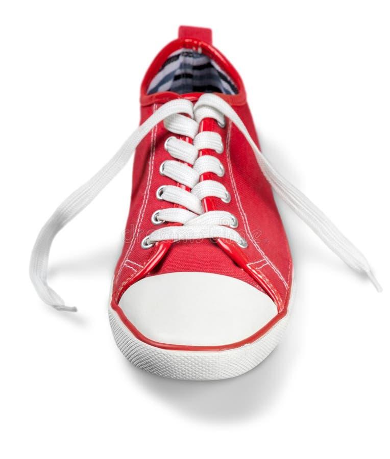 Scarpa rossa di sport isolata su bianco immagine stock libera da diritti
