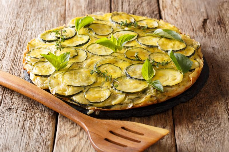 Scarpaccia is a Tuscan dish, an open zucchini tart, a diet close. Up on the table. horizontal stock image