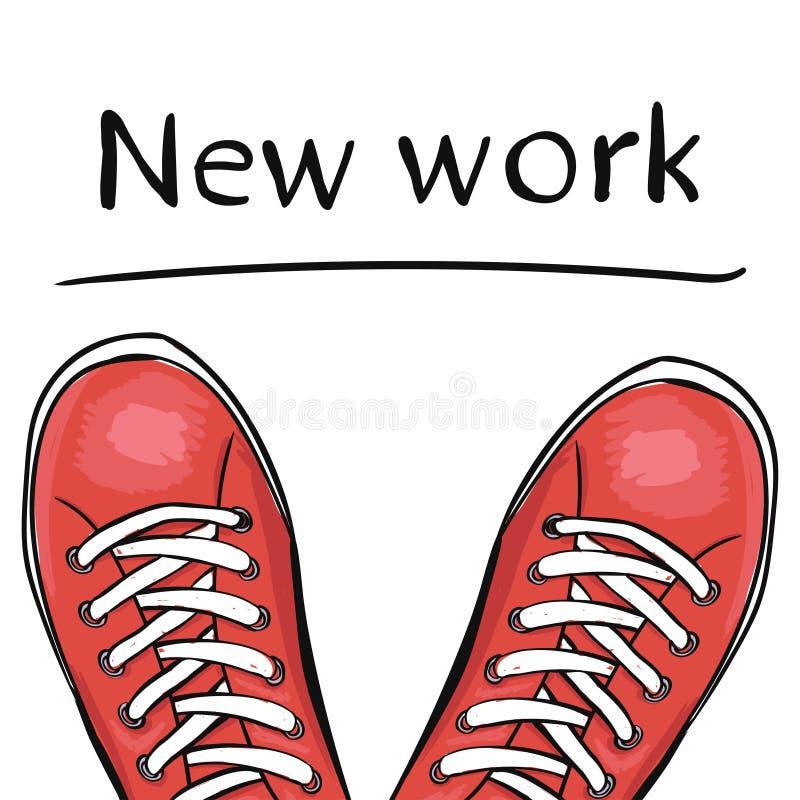 Scarpe d'avanguardia di sport di estate I piedi nello sport calza le scarpe da tennis prima che selezioniate un nuovo lavoro Vett royalty illustrazione gratis