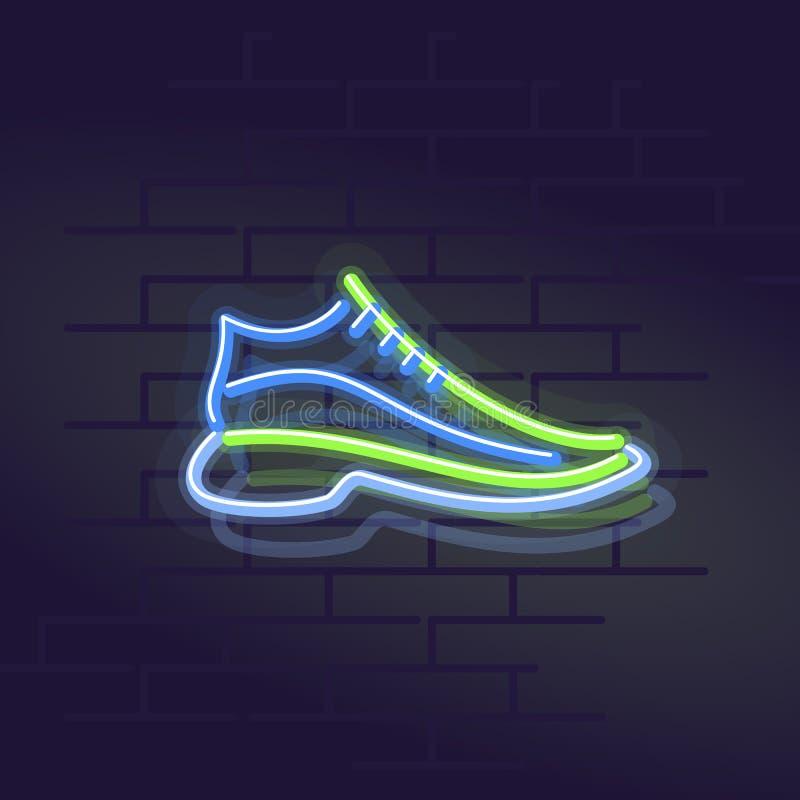 Scarpe da tennis al neon Segno di Wall Street illuminato notte fotografie stock libere da diritti