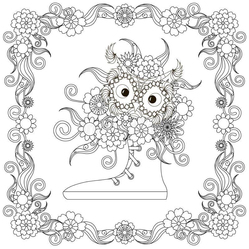 Scarpe da tennis con il gufo, mazzo dei fiori nell'illustrazione floreale di vettore delle azione dell'elemento di progettazione  illustrazione di stock