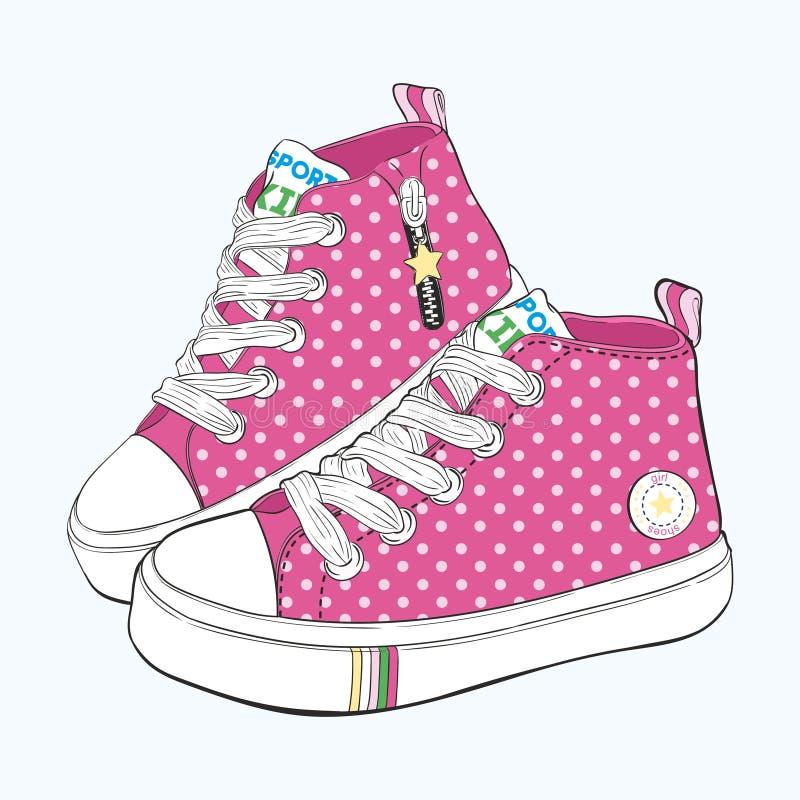 Scarpe da tennis del ` s dei bambini messe Variazioni di progettazione delle scarpe per le ragazze immagini stock