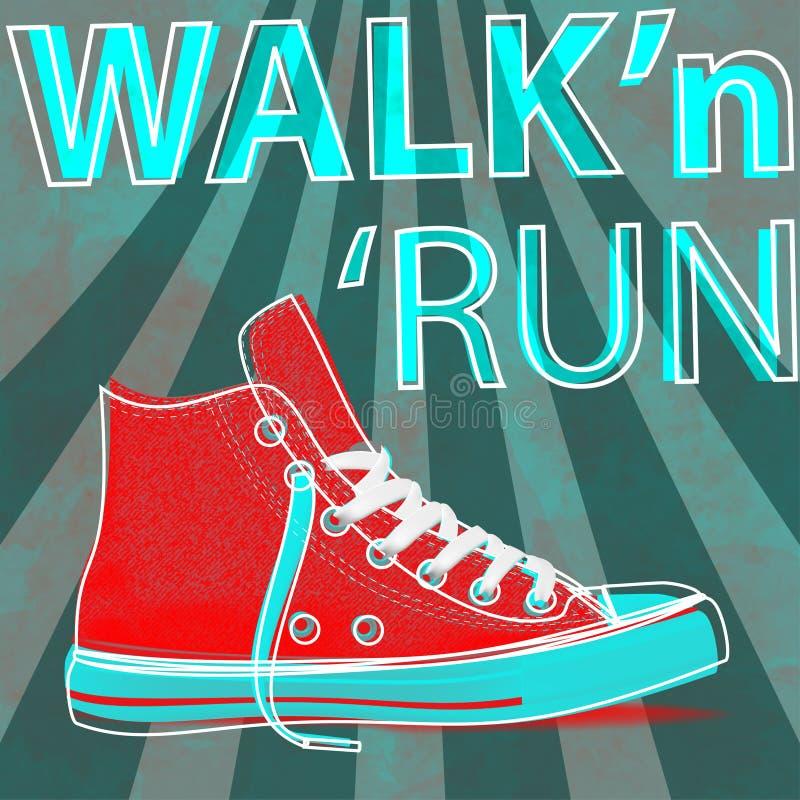 Scarpe da tennis di arte moderna di concetto di funzionamento e della passeggiata Scarpe da tennis della gioventù per voi royalty illustrazione gratis