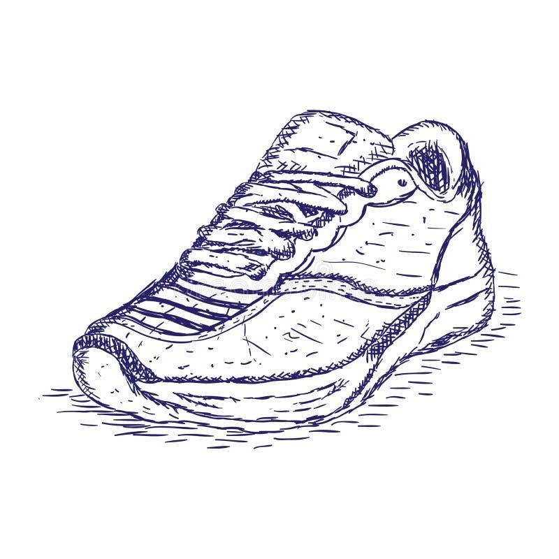 Scarpe da tennis disegnate a mano su fondo bianco Concetto di funzionamento Illustrazione di vettore illustrazione vettoriale