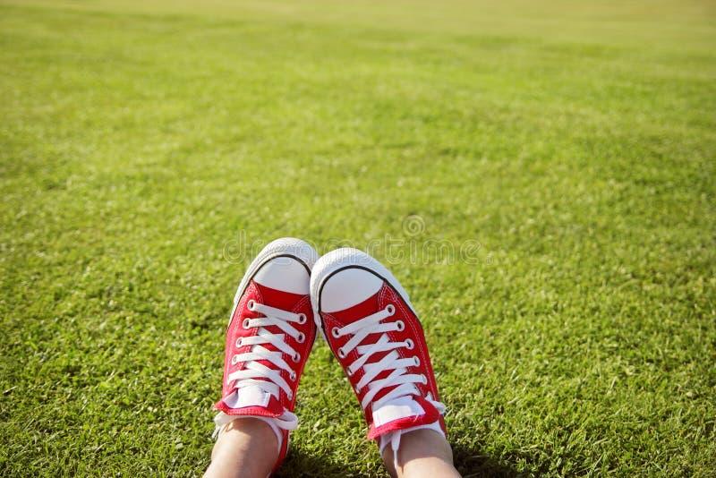 Scarpe da tennis in erba verde fotografie stock