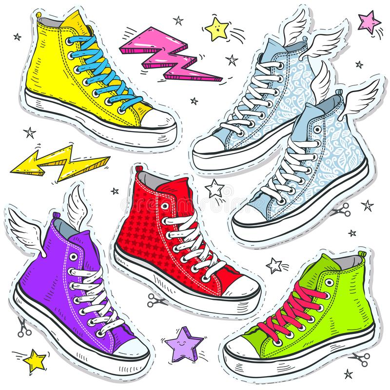 Scarpe da tennis luminose stabilite delle scarpe, scarpe da tennis colorate con i pizzi e stelle royalty illustrazione gratis
