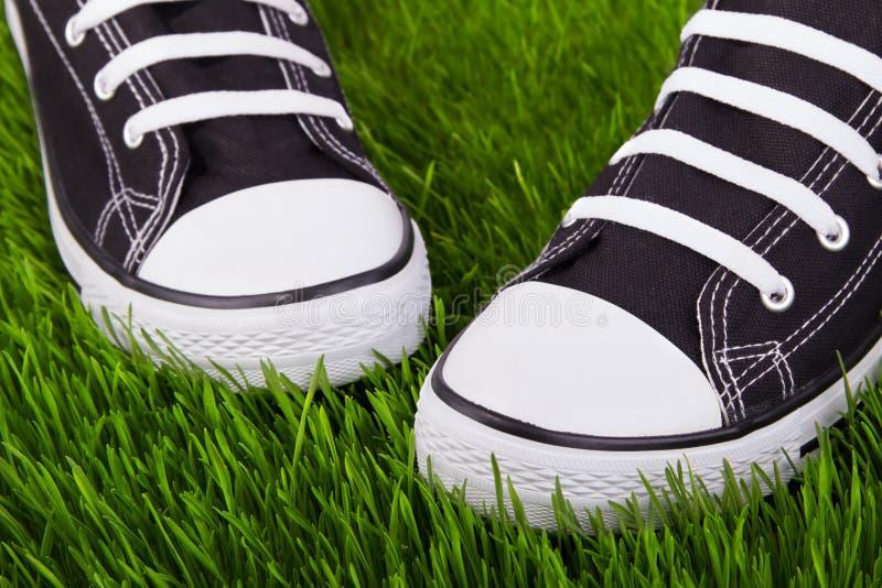 Scarpe da tennis sull'erba verde fotografia stock libera da diritti