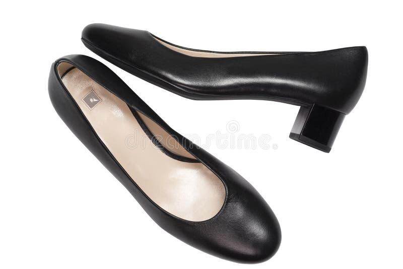 Scarpe di tallone eleganti su fondo bianco, vista dall'alto. Piatto fotografia stock