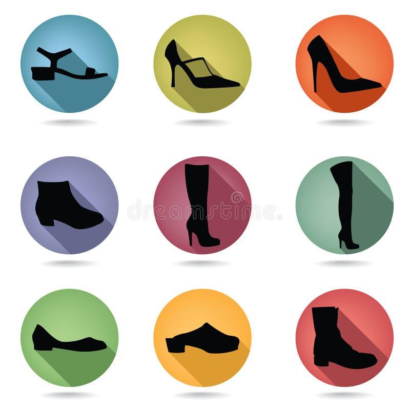 Scarpe ed insieme dell'icona degli stivali Raccolta del bottone di accossories di modo illustrazione vettoriale