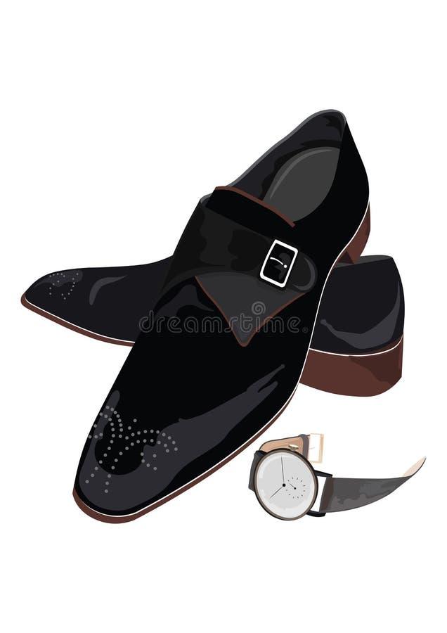 Scarpe ed orologio maschii classici neri illustrazione di stock